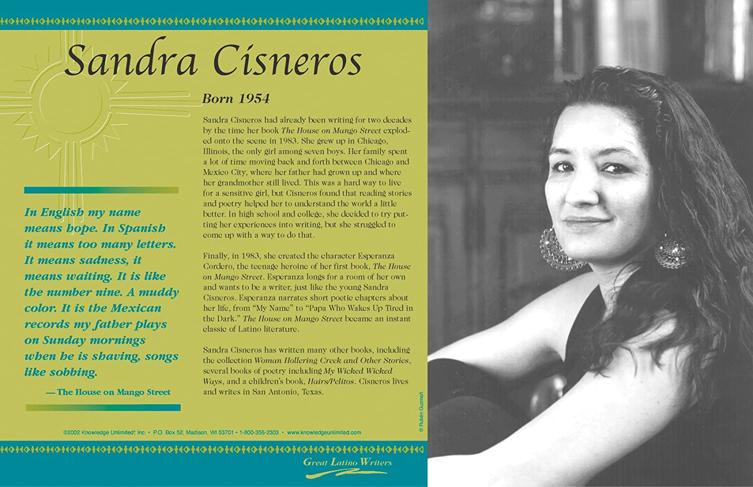 a glimpse at the life of sandra cisneros and her writing the house on mango street
