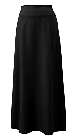 85b4fa519f4a Baby'O Women's Basic Stretch Cotton Knit Panel Maxi A-Line Skirt at Amazon Women's  Clothing store: