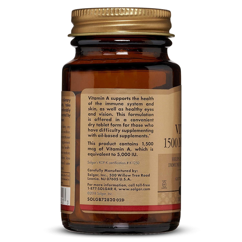 Solgar Vitamina A Seca 5000 UI Comprimidos - Envase de 100: Amazon ...