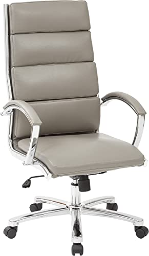 Office Star Faux Leather Seat and High Back Contour Executive Chair