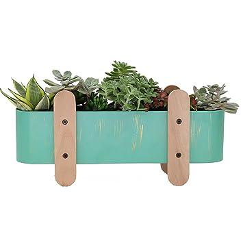 Amazon Com Modern Iron Flower Pot Oval Mint Green Metal Planter