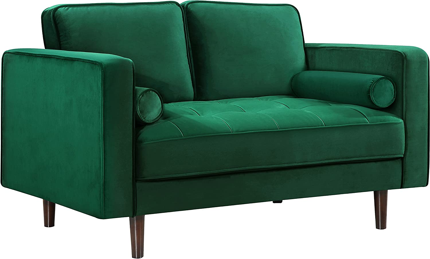 Meridian Furniture Emily Collection Modern   Contemporary Velvet Upholstered Loveseat with Luxurious Deep Button Tufting and Custom Wood Legs, Green, 59