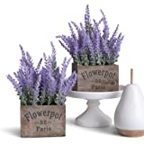 蝴蝶工艺人造薰衣草植物丝花,适用于婚礼装饰和桌子*摆饰 紫色 Lavender w/Pot Set of 2