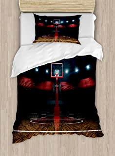 Teen Room Decor Duvet Cover Set By Ambesonne, Professional Basketball Arena  Stadium Before Game Championship