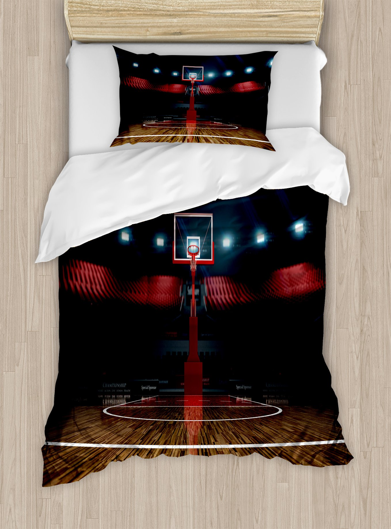 Ambesonne Teen Room Duvet Cover Set Twin Size, Professional Basketball Arena Stadium Before The Game Championship Sports Image, Decorative 2 Piece Bedding Set with 1 Pillow Sham, Multicolor