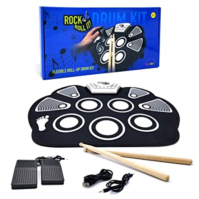MukikiM Rock And Roll It - Drum. Flexible, Completely Portable, battery OR USB powered, 2 Drum Sticks + Bass Drum & Hi hat pedal included!: Unknown: Toys & Games