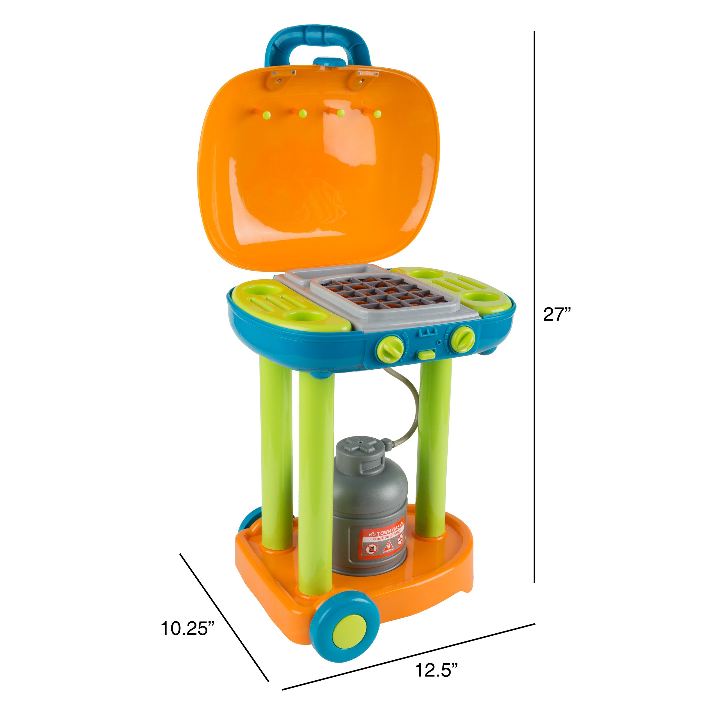 BBQ Grill Toy Set- Kids Dinner Playset with Realistic Sounds and Grate Lights- Includes Barbecue Food and Accessories, Pretend Kitchen by Hey! Play! (Image #2)