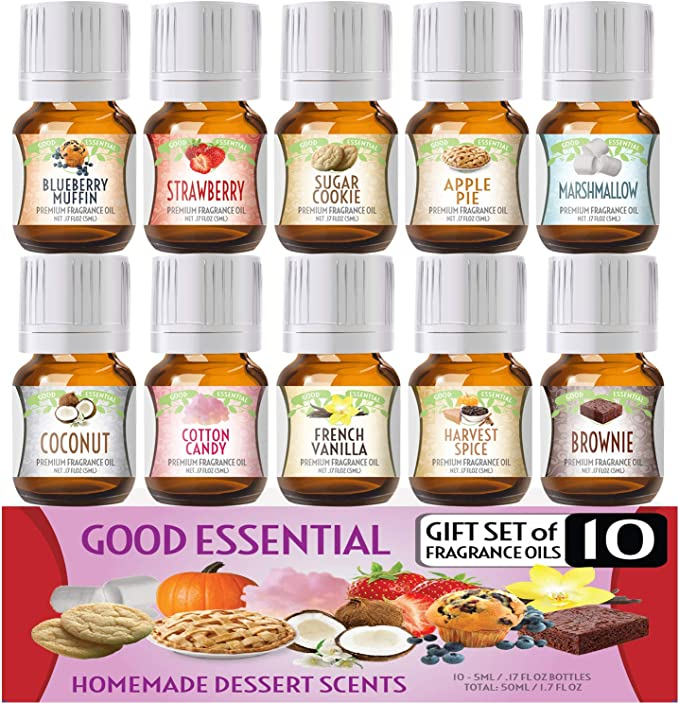 Amazon.com: Homemade Desserts Good Essential Fragrance Oil Set (Pack of 10) 5ml - French Vanilla, Cotton Candy, Blueberry Muffin, Strawberry, Coconut, Apple Pie, Marshmallow, Harvest Spice, Brownie, Sugar Cookie: Health & Personal Care