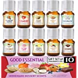 Homemade Desserts Good Essential Fragrance Oil Set (Pack of 10) 5ml - French Vanilla, Cotton Candy, Blueberry Muffin, Strawbe