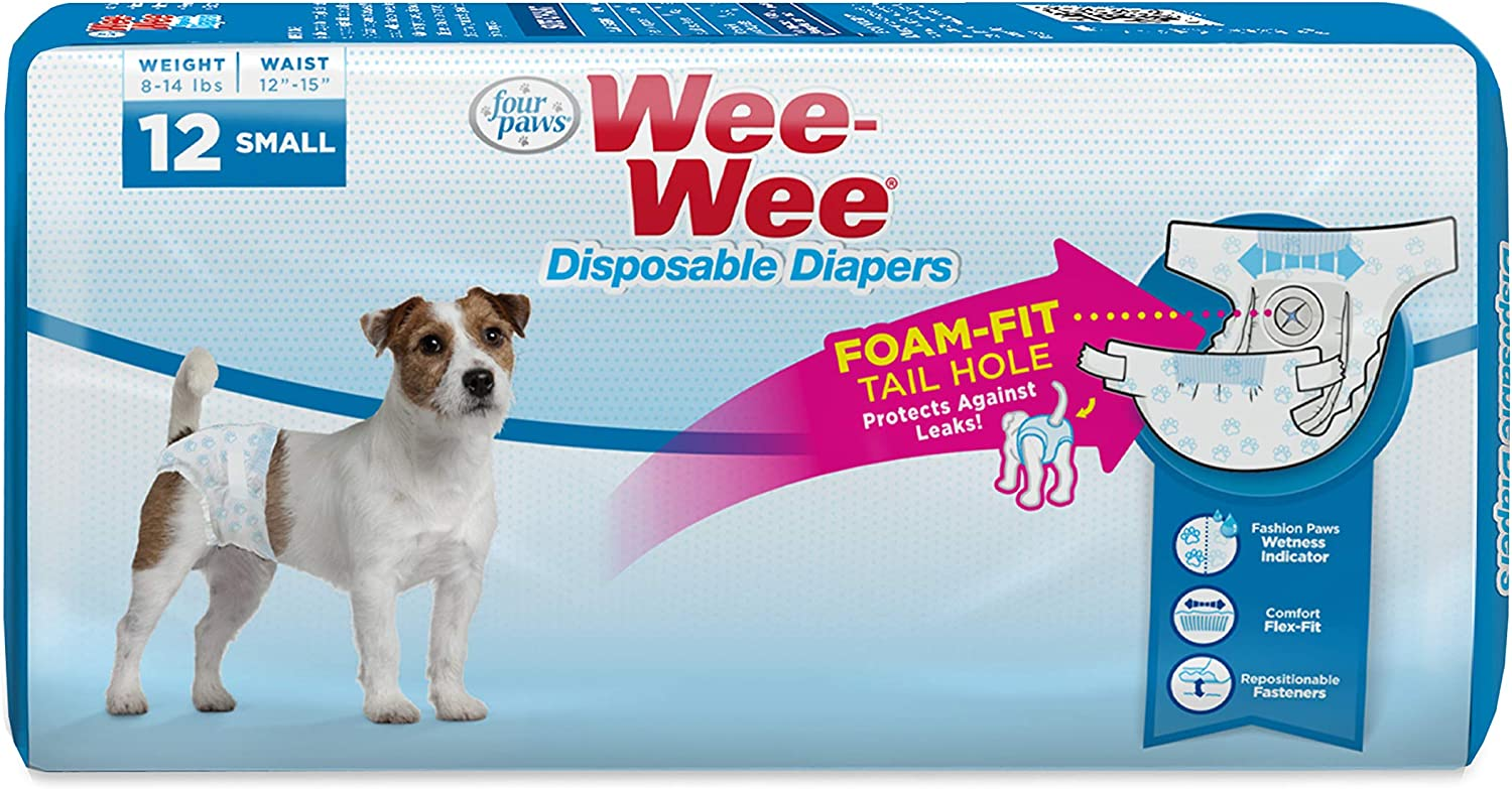 Four Paws Wee-Wee Disposable Dog Diapers 12 Count Small