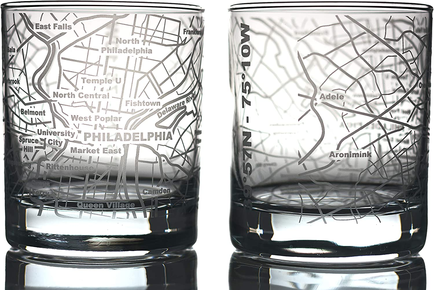 Greenline Goods Whiskey Glasses - 10 Oz Tumbler Gift Set for Philadelphia lovers, Etched with Philadelphia Map | Old Fashioned Rocks Glass - Set of 2