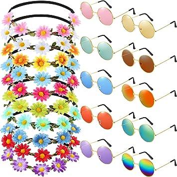 Amazon.com: Bememo - Juego de 20 gafas hippie con diadema ...