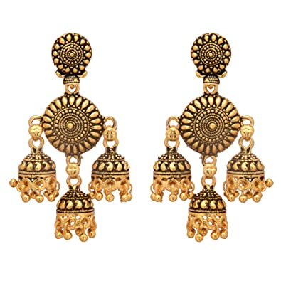 Jewellery Jwellmart Indian Traditional Bollywood Gold Jhumka