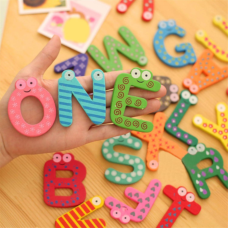 Cartoon Holz K/ühlschrankmagnet Cartoon Happy Event 26 Bunte Buchstaben Kind Baby p/ädagogisches Spielzeug