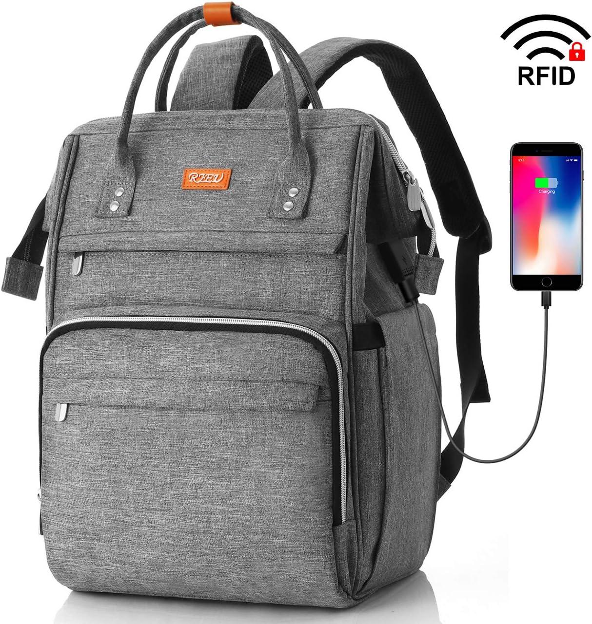 Mochila Escolar para Mujeres,Mochila para Portatil Impermeable para Jóvenes con Bolsillo RFID, Bolsos Casuales para la Universidad/Negocios/Viajes(Gris)