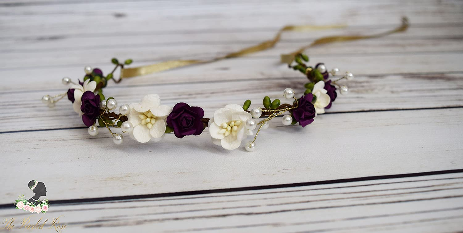 Amazon Handcrafted Plum Purple And Off White Pearled Rose
