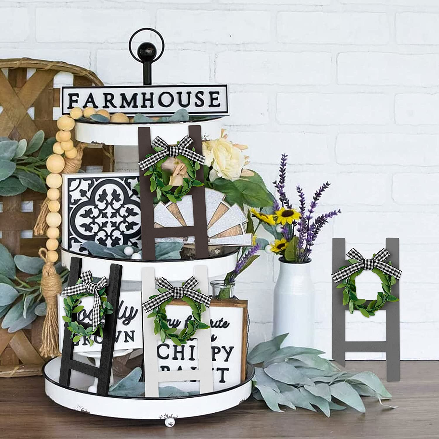 4Pcs Wooden Farmhouse Ladder Tiered Tray Decoration Classical Plaid Rustic Farmhouse Wooden Tray Decor Ladder Sign Shelf Sign Photo Booth Props for Spring Summer Holiday