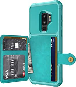 Galaxy S9 Plus Case, Sumsung S9 Plus Wallet Flip Leather Kickstand Fit Magnetic Car Charger Mount Slim Durable Shockproof Protective Case Cover with Card Holder (Turquoise)