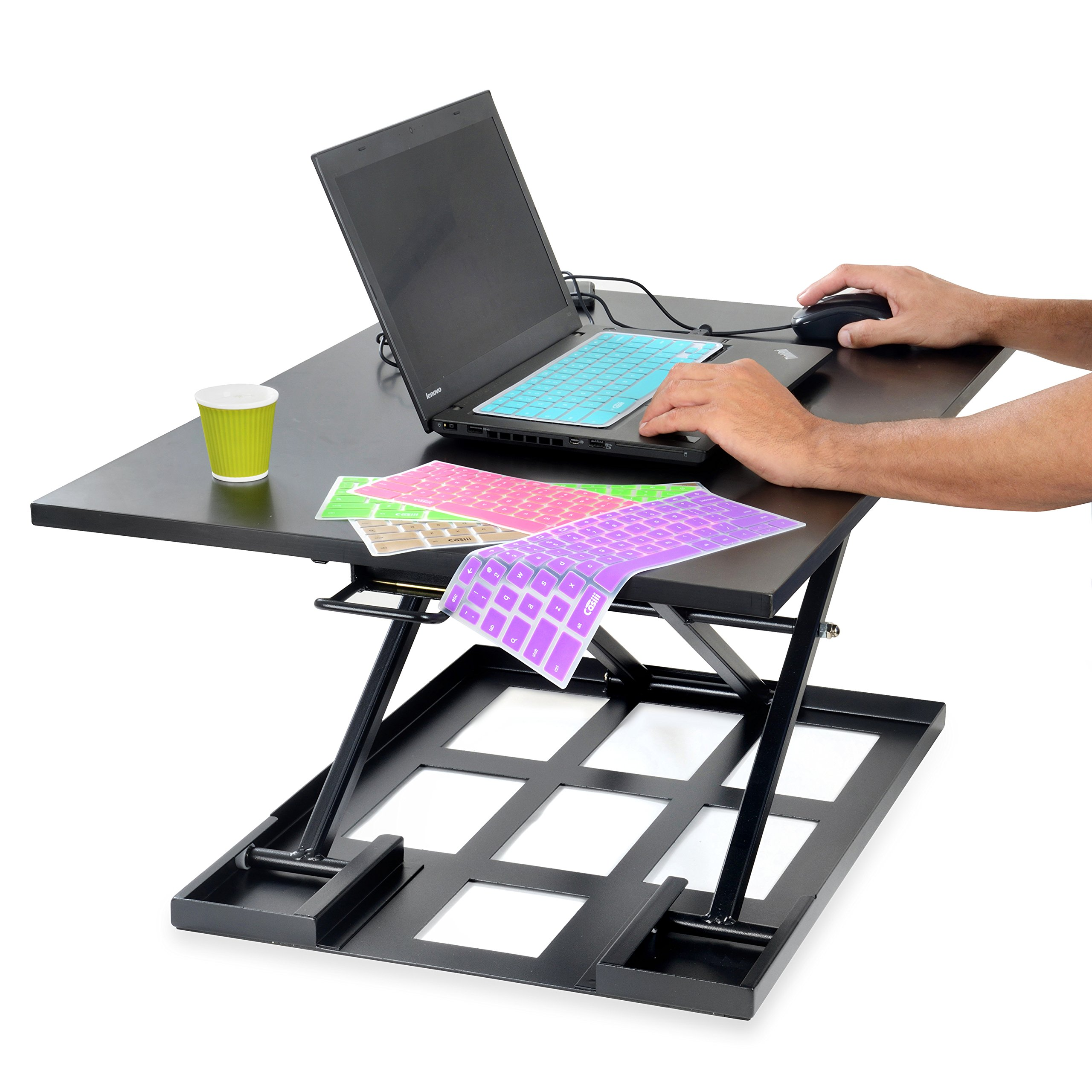 Best Standing Desk, Adjustable Height Riser Converter, Stand Up or Sit Down, 32'' Black Office Desktop, Computer Monitor & Laptop Workspace, Unlimited Ergonomic Positions for Better Health, Casiii UP32 by Casiii (Image #3)