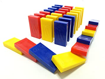 Primary Trio - Red, Yellow, Blue | Toppling Dominoes | 100 Pcs | Square Edge