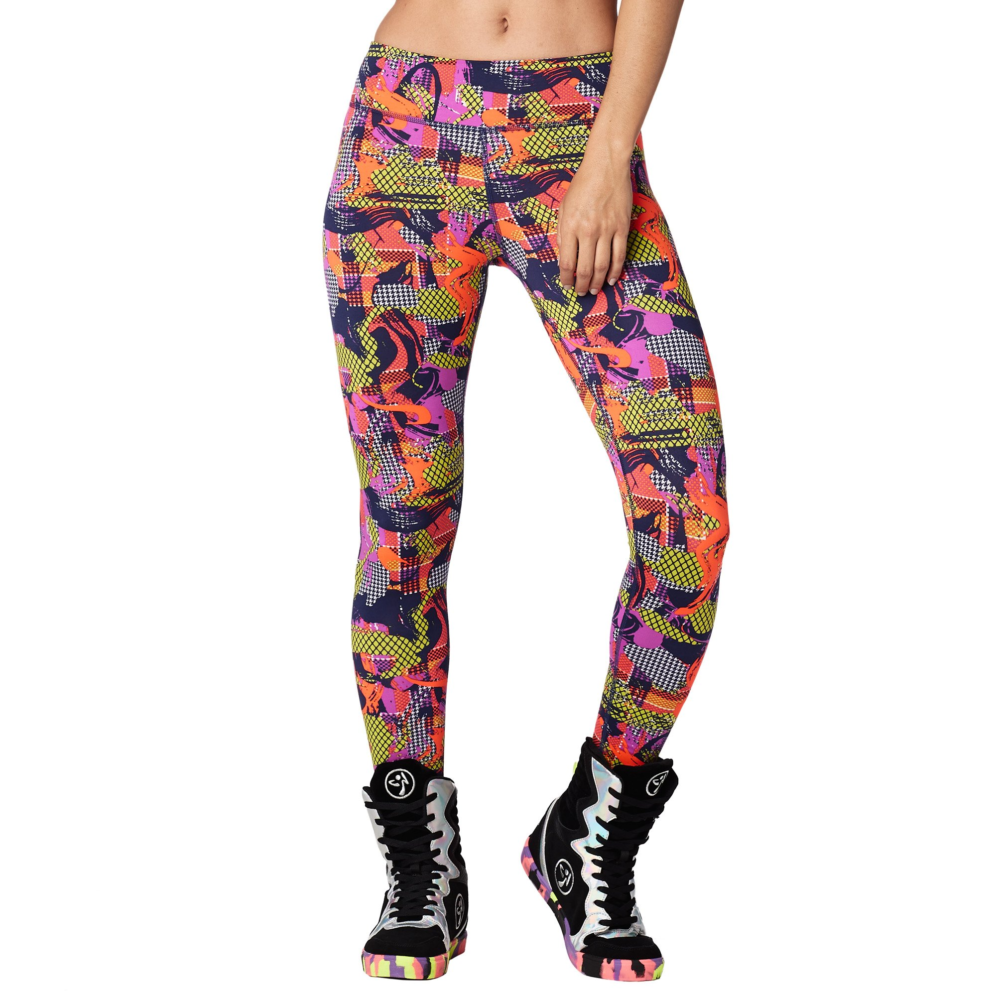 Zumba Women's Wide Waistband Print Legging with Compression, Coral Craze, L by Zumba