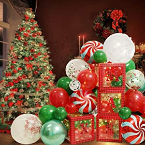 134 pcs Christmas party Decorations Balloon Boxes kits Include XMAS Transparent boxes,Latex Balloons, Confetti Balloons,Fairy String Light for Christmas Party Decor, Fireplace Decor, Home Decor and Event & Party