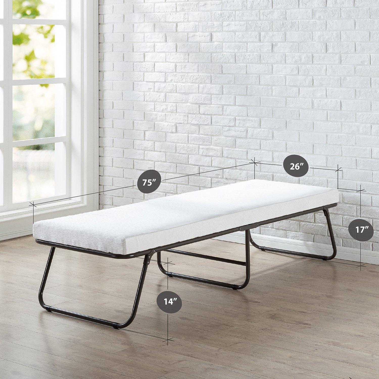 Zinus Folding Foam Guest Bed Frame with Wheels, Single OLB-GB-S