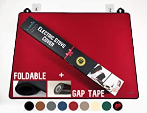 Larsic Stove Cover - Protects Electric Stove Washer Dryer Top. Anti-Slip Coating Waterproof Stove Gap Foldable Prevent Scratching, Expands Usable Space (28.5X20.5, Red)