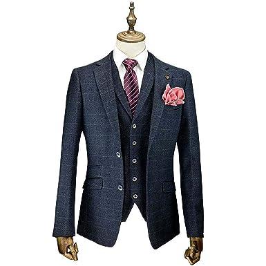 Designer Anzug Herren   Herren Kariert Anzug 3 Teilig Cavani Designer Tweed Blazers Enge
