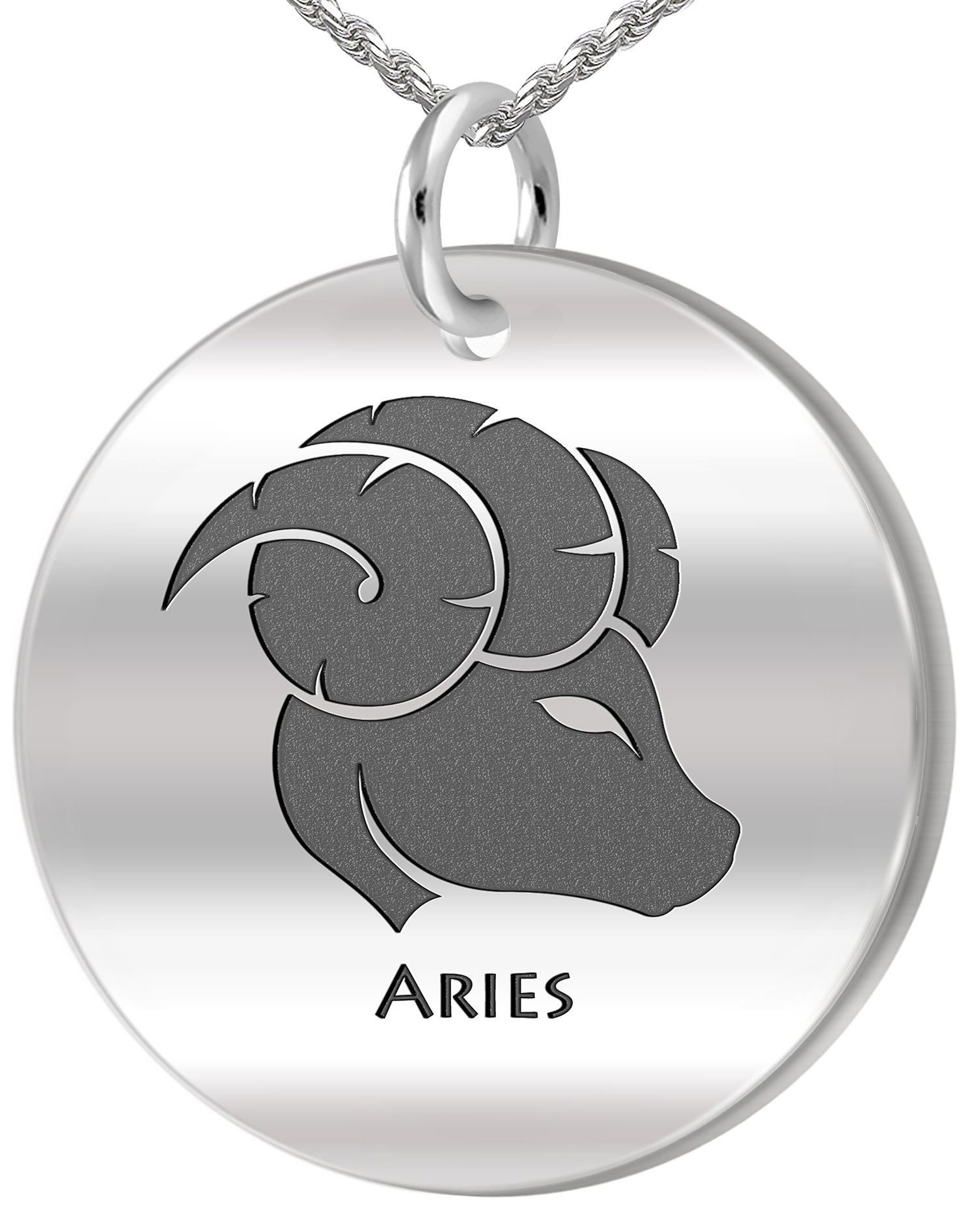 0.925 Sterling Silver 1in Aries Ram March & April Zodiac Pendant 3.3mm Rope Necklace, 24in