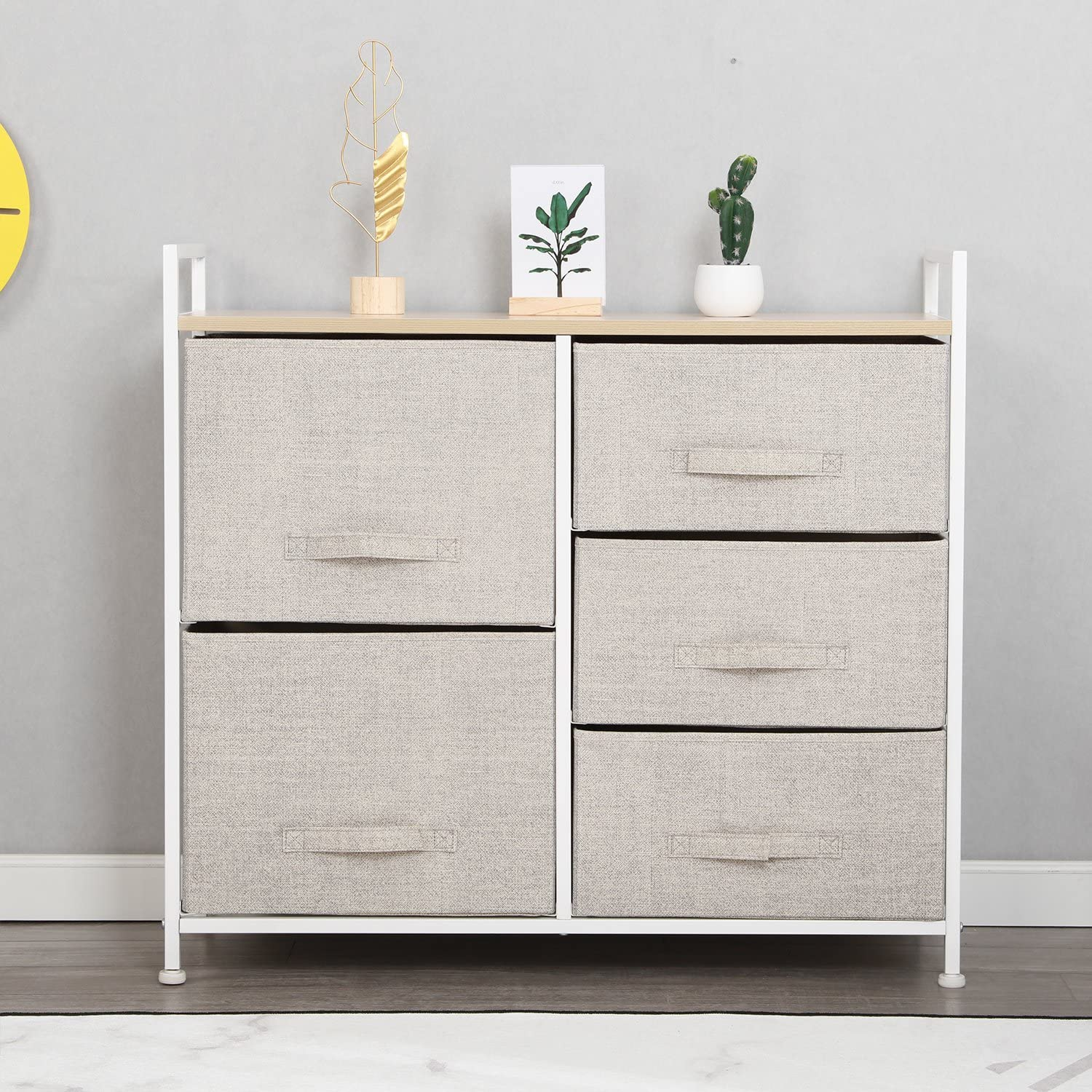 Soges Fabric 5-Drawer Storage Organizer Unit for Bedroom, or Play Room with  Fabric Bin Storage Unit,Beige 5-BM-CA
