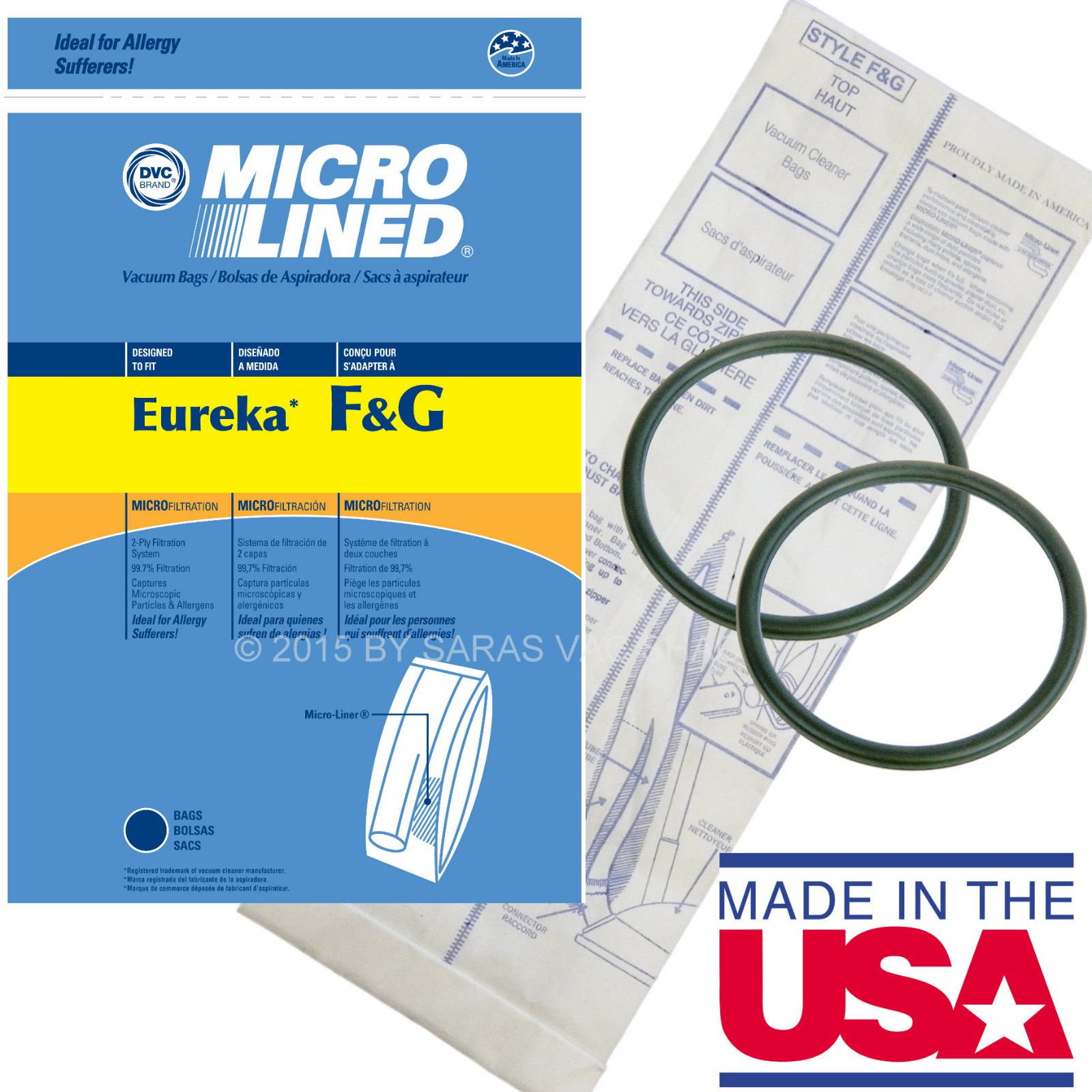 10 Bags for Eureka Style F&G Vacuum Cleaner F G Sanitaire Commercial + 2 Belts