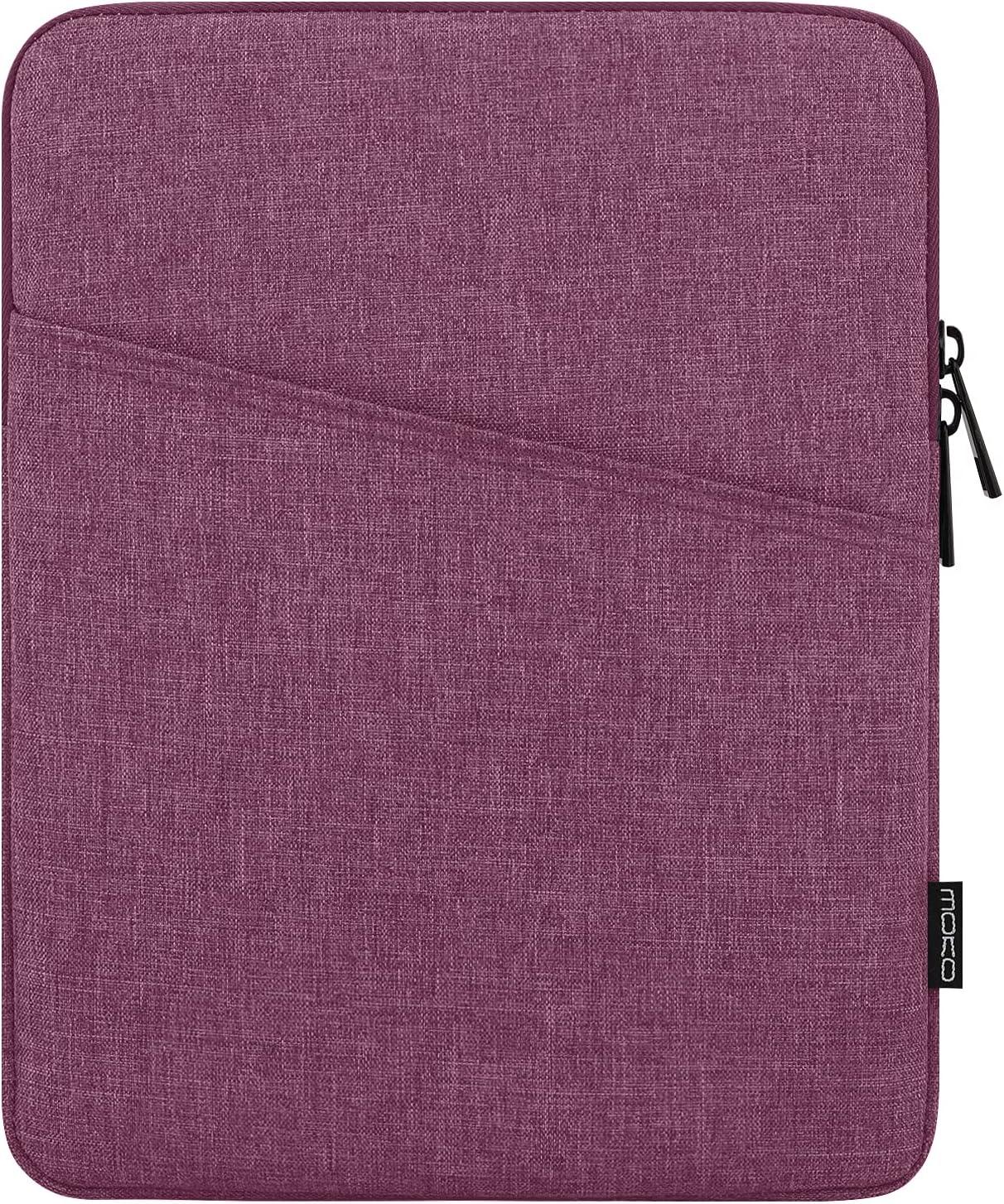 MoKo 9-11 Inch Tablet Sleeve Case Fits iPad Pro 11 2021/2020/2018, iPad 8th 7th Generation 10.2, iPad Air 4 10.9, iPad Air 3 10.5, iPad 9.7, Galaxy Tab A 10.1, Polyester Bag with Pocket, Purple