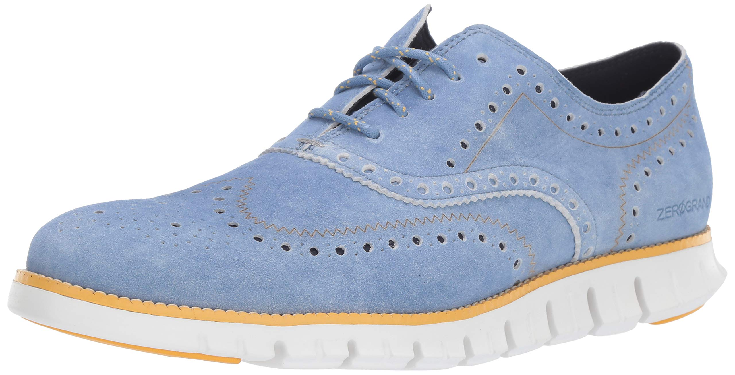 Cole Haan Men's Zerogrand Wing OX Oxford, Denim Extra Blue Suede/Sunset Gold/Optic White, 7 M US