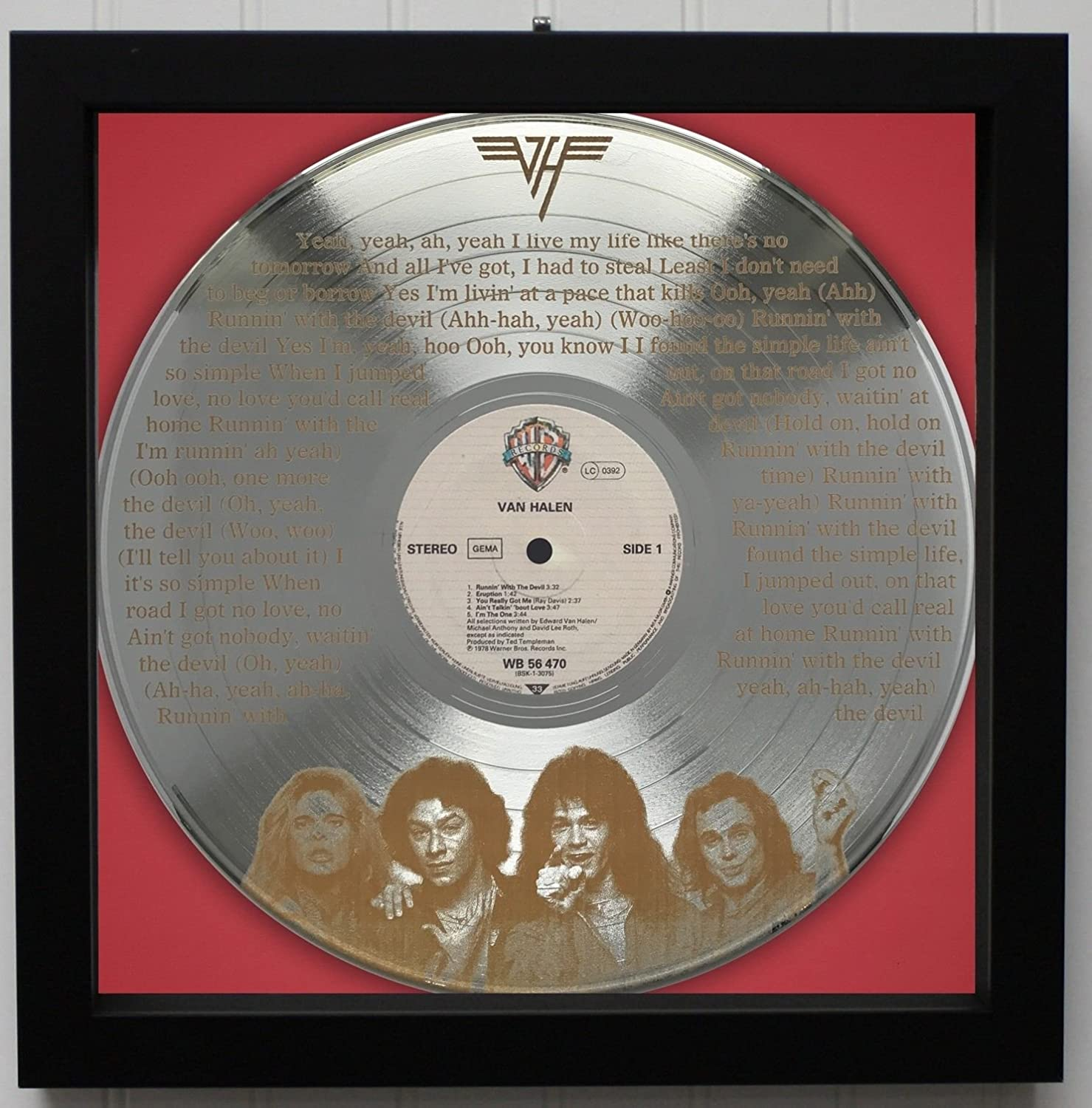 Van Halen'Running With The Devil' Framed Laser Etched Platinum LP Record'M4'