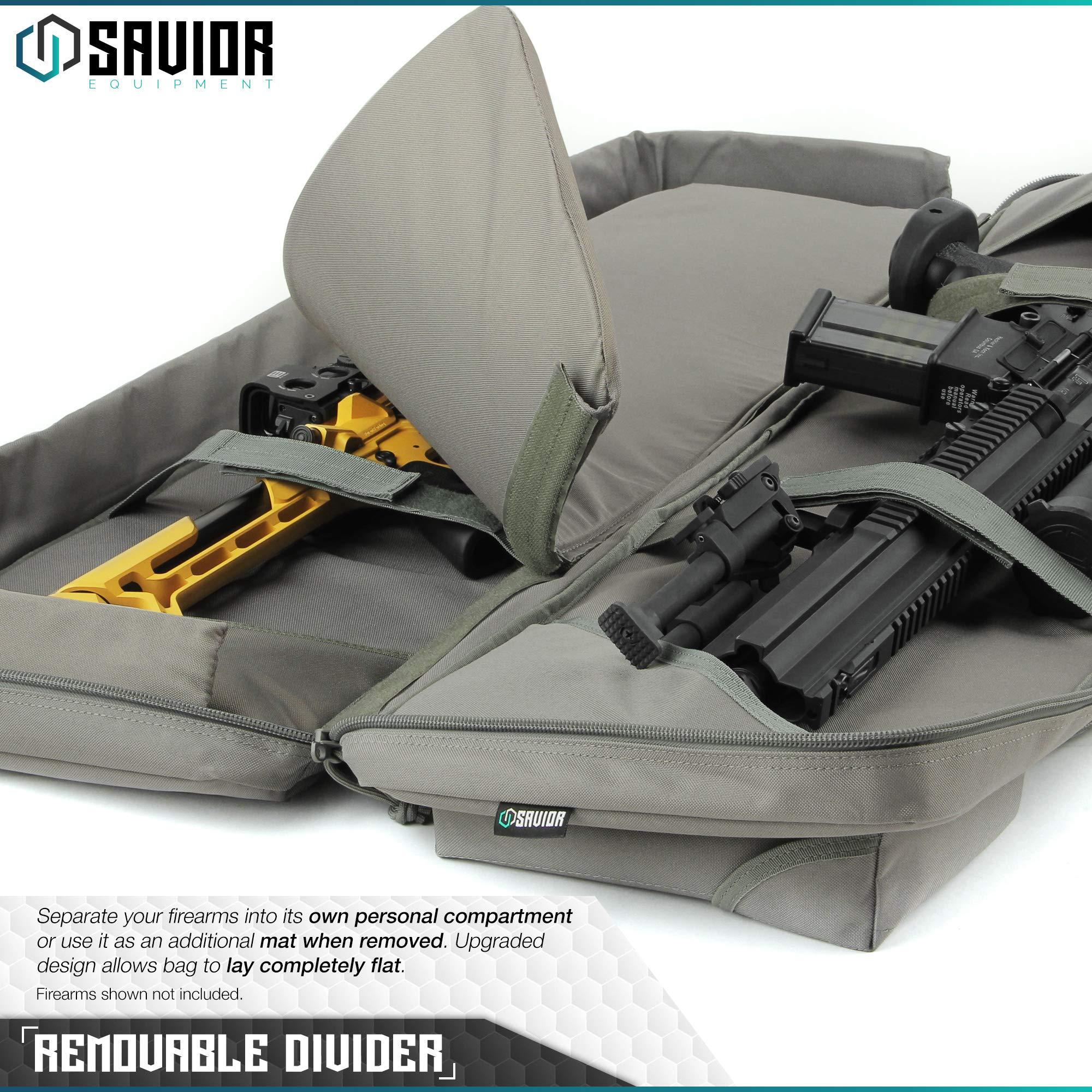 Savior Equipment Urban Warfare Tactical Double Carbine Long Rifle Bag Gun Case Firearm Backpack w/Pistol Handgun Case - 42 Inch Ash Gray by Savior Equipment (Image #3)