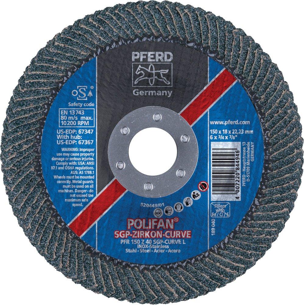 PFERD 67347 Polifan Zirkon Curve Radial Type Flap Disc, Zirconia Alumina, 6'' Diameter, 7/8'' Arbor Hole, 10200 rpm, 40 Grit