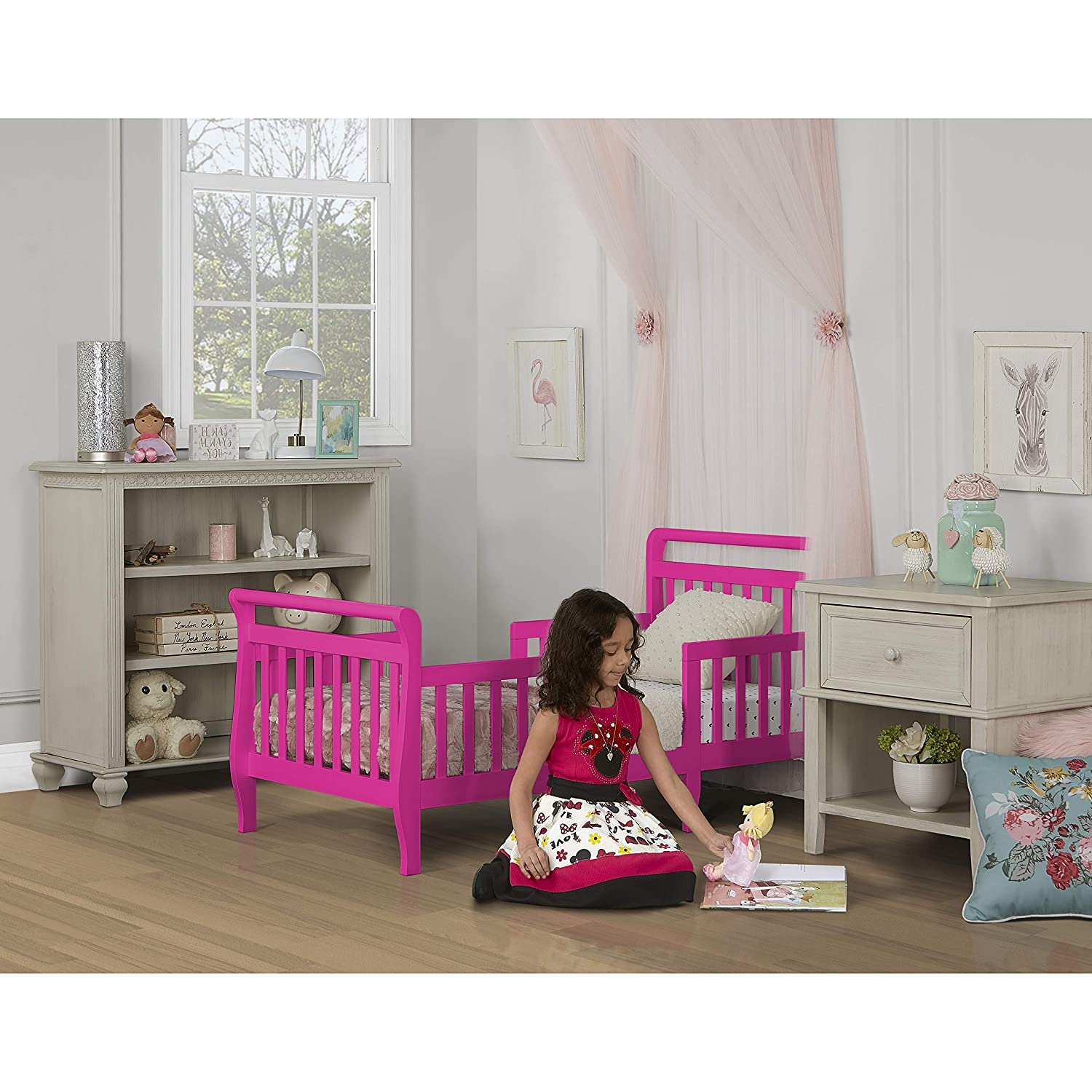 Dream On Me Emma 3 in 1 Convertible Toddler Bed Fuschia Pink