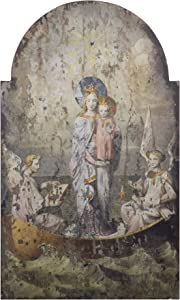 Creative Co-op Vintage Mary & Angels Image on Decorative Wood Wall Décor