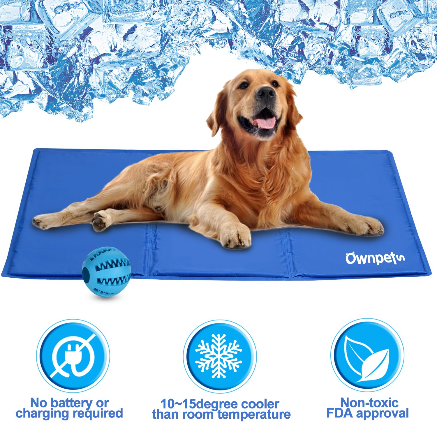 OWNPETS Pet Self Cooling Gel Pad/Cooling Mat, Anti-inflammatory, 100% Safe Non-toxic Materials, For All Dogs, Cats with Pet Toy Ball, 36x20