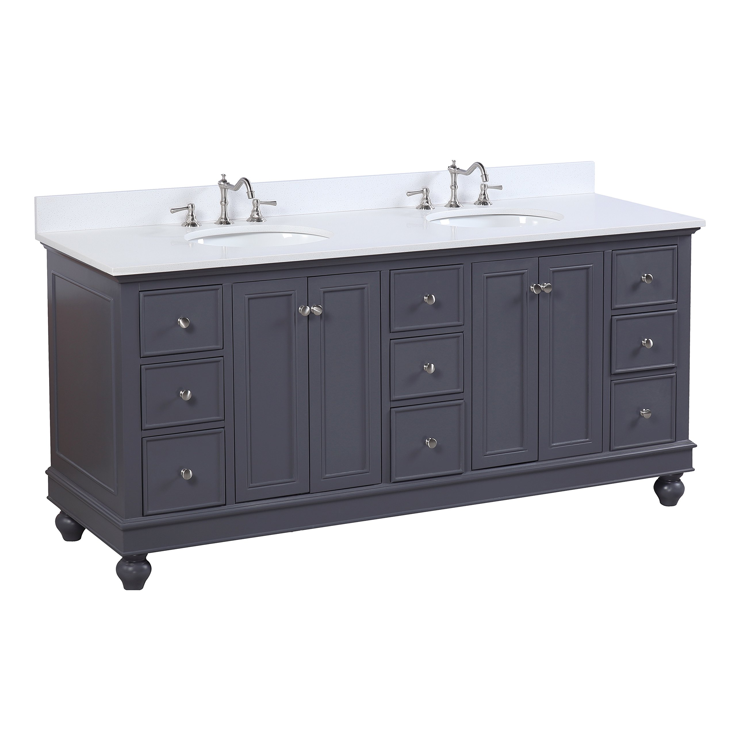 Bella 72-inch Double Bathroom Vanity (Quartz/Charcoal Gray): Includes a Charcoal Gray Cabinet, Quartz Countertop, Soft Close Drawers and Doors, and Ceramic Sinks by Kitchen Bath Collection
