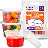 Stack Man - DC1648 [48 Pack, 16 oz] Plastic Deli Food Storage Soup Containers With Airtight Lids, Freezer Safe | Meal Prep |
