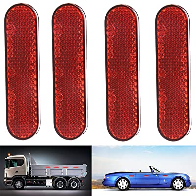 LBZE Quick Mount Reflector,Red Plastic Oval Stick-on Car Reflector Sticker,Work for Cars, Trailer, Motorcycle, Trucks, Boat and The Ground,4pack (red): Sports & Outdoors
