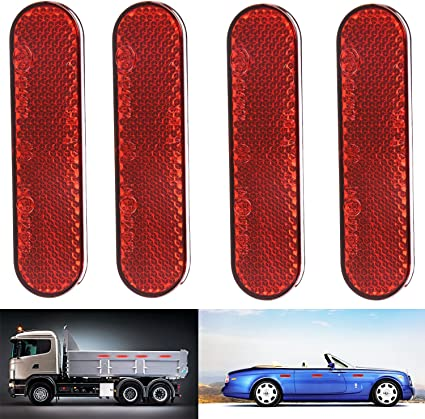 AUTUT Car Reflective Sticker Red Warning Safety Reflector Strips Pack of 2
