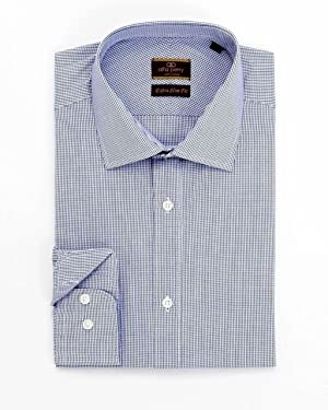 Alfa Perry Extra Slim Fit Mini Graph Check Spread Collar Cotton Dress Shirt