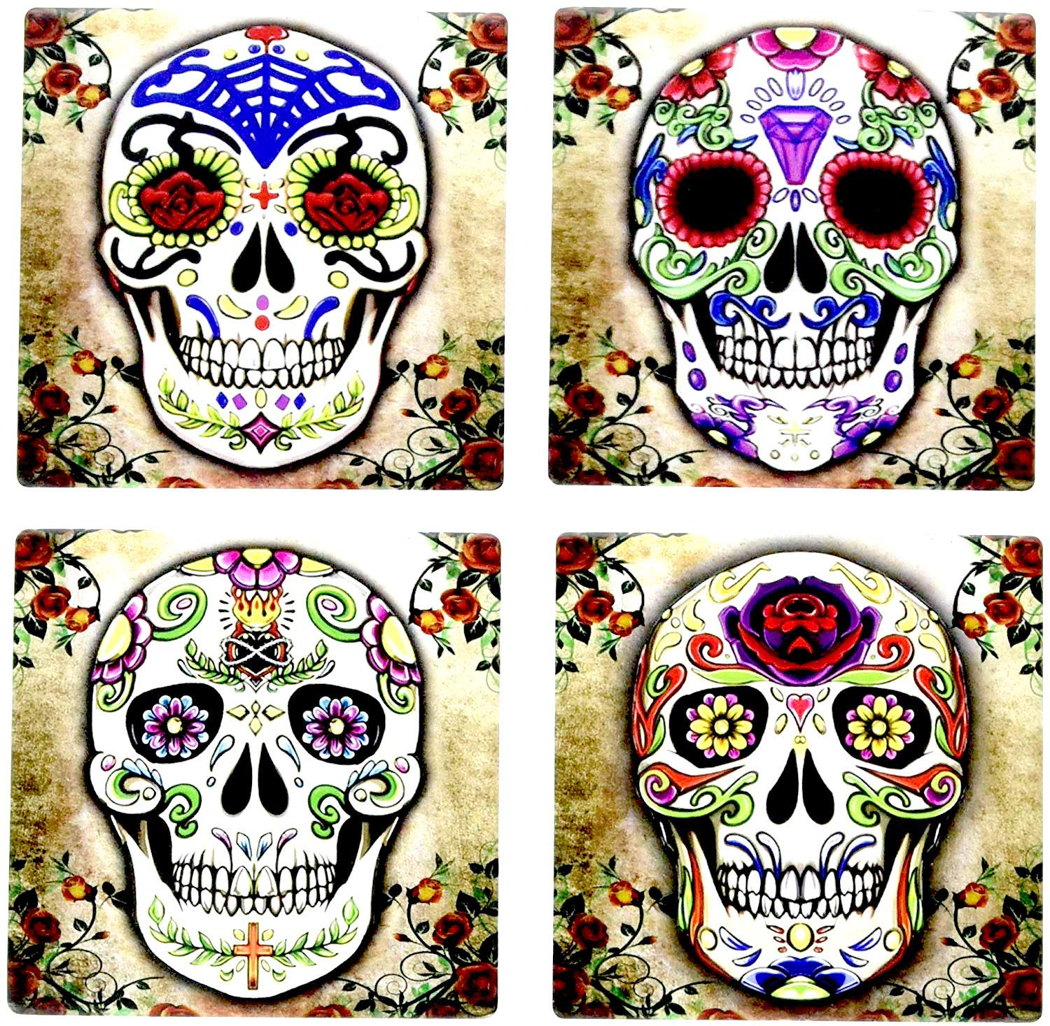 Day of the Dead Dia De Muertos - Sugar Skull Spirit 4 Inch by 4 Inch Ceramic Tile Coaster - Set of 4
