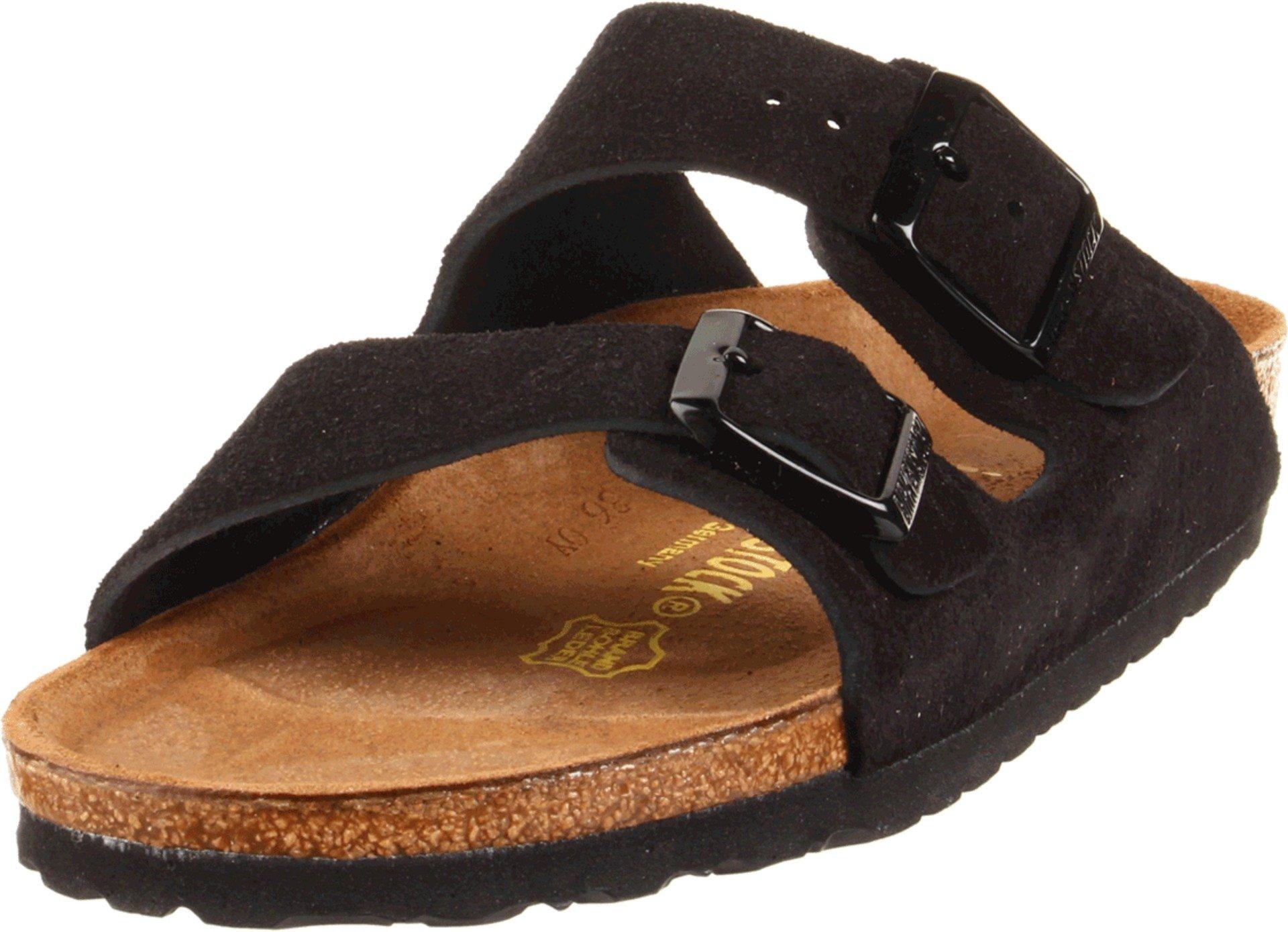 Birkenstock Unisex Arizona Black Suede Sandals - 40 M EU/9-9.5 B(M) US Women/7-7.5 B(M) US Men