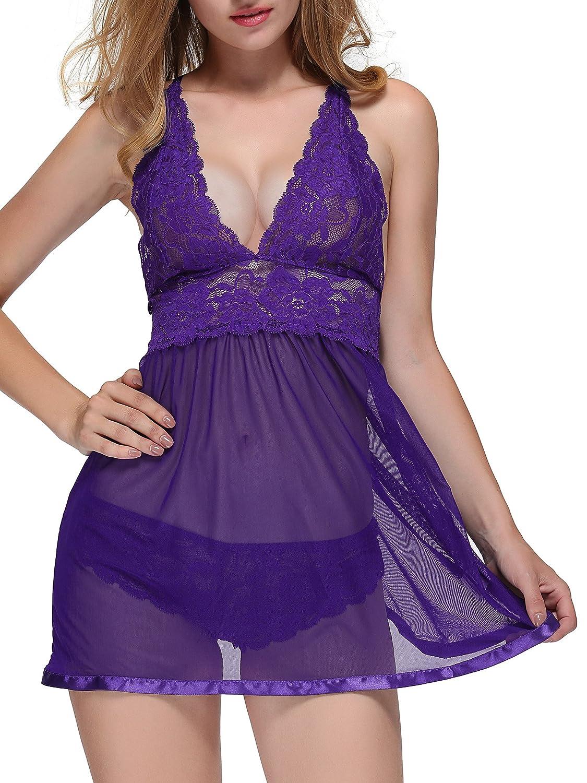 BMAKA Petite Size Lingerie Deep V Neck Lace Chemise Nightwear Dress Women