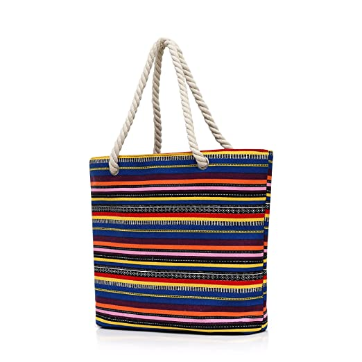 Amazoncom Dreamdeer Bohemian Design Large Striped Beach Bag Tote