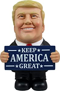 DWK - Keep America Great - Collectible Donald Trump Caricature Indoor Outdoor Figurine with Keep America Great Sign 2020 Political Novelty Home Office Garden Décor Accent, 10-inch